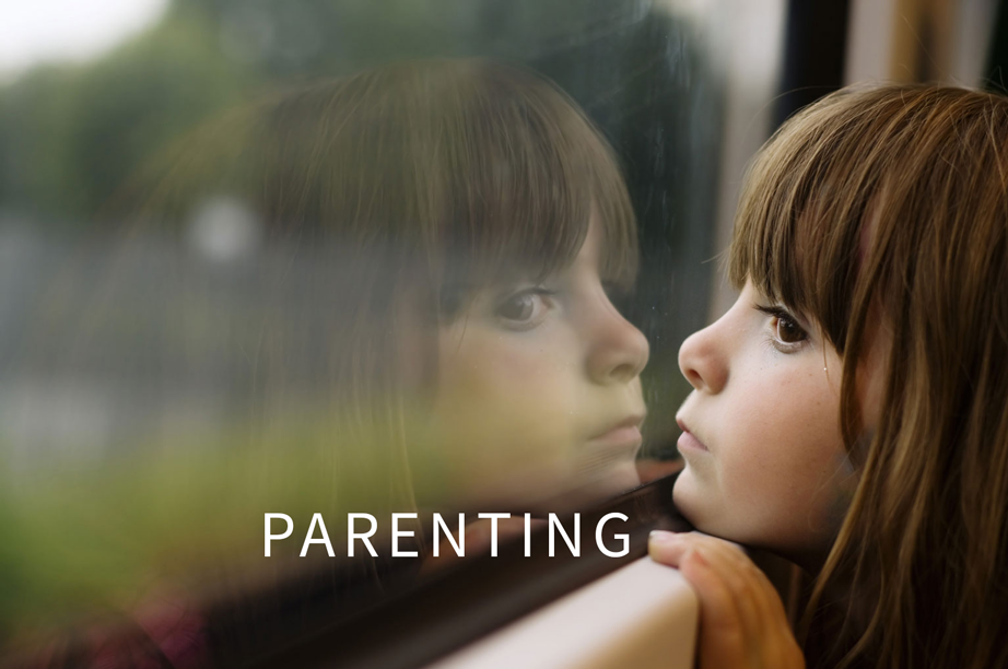 girl window text with parenting
