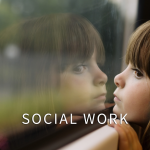 girl window text with social work
